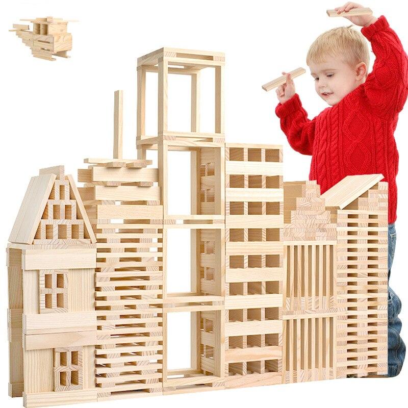 100Pcs Montessori Baby Toys Children Jenga Wooden Kids Toddlers Building Blocks Learning Educational Preschool Training Gifts